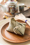 Zongzi or sticky rice dumpling with tea Stock Photography