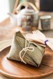 Zongzi or sticky rice dumpling with tea Royalty Free Stock Photo