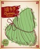 Zongzi tradicional para o estilo tirado do festival de Duanwu à disposição, ilustração do vetor ilustração stock