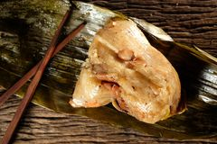 Zongzi or Traditional Chinese Sticky Rice Dumplings. Stock Images