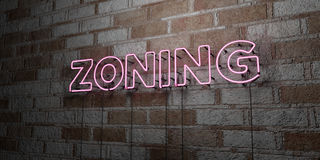 ZONING - Glowing Neon Sign on stonework wall - 3D rendered royalty free stock illustration. Can be used for online banner ads and direct mailers Stock Photography