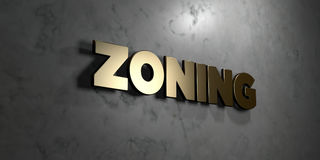 Zoning - Gold sign mounted on glossy marble wall  - 3D rendered royalty free stock illustration. This image can be used for an online website banner ad or a Stock Images