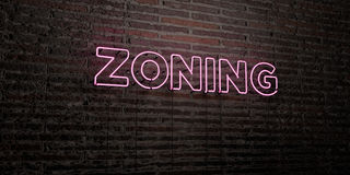 ZONING -Realistic Neon Sign on Brick Wall background - 3D rendered royalty free stock image. Can be used for online banner ads and direct mailers Stock Images