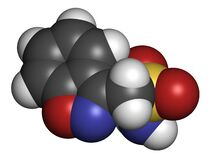 Zonisamide epilepsy drug molecule. Atoms are represented as spheres with conventional color coding: hydrogen white, carbon grey