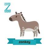 Zonkey. Z letter. Cute children animal alphabet in vector. Funny Royalty Free Stock Photo