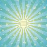 Zonlicht abstracte achtergrond De uitbarstingsachtergrond van de poeder gele en blauwe kleur met glanzende sterren vector illustratie