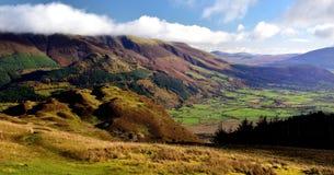 Zonlicht op de groene gebieden van Keswick Royalty-vrije Stock Foto