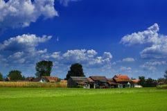 Zonlicht op landbouwbedrijven stock foto's