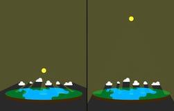Zonlicht op vlakke aarde Zonstralen door wolken Schemerige stralenillustratie Royalty-vrije Stock Afbeeldingen