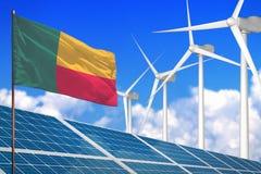 Zonne Benin en windenergie, duurzame energieconcept met zonnepanelen - duurzame energie tegen het globale industrieel verwarmen - vector illustratie