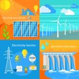 Zonne en Hydro Winderige Elektriciteit Stock Foto