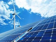 Zonne en windenergie Stock Foto's