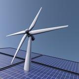 Zonne en windenergie Stock Foto