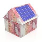 Zonne-energie - besparingenponden Stock Afbeeldingen