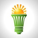 Zonne-energie Efficiënte Lightbulb Stock Foto