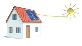 Zonne-energie. Huis royalty-vrije illustratie