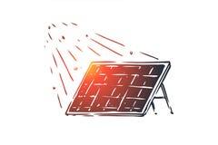 Zonne, energie, paneel, zon, alternatief concept Hand getrokken geïsoleerde vector vector illustratie