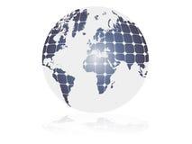 Zonne-energie, schone energiesymbool. aardebol met photovoltaic cellen. vector illustratie