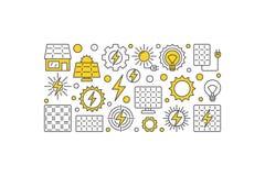 Zonne-energie vectorillustratie De energie creatieve banner van zoneco royalty-vrije illustratie