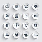 Zonne-energie, zon aangedreven geplaatste energeticapictogrammen stock illustratie