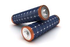 Zonne-energiebatterijen Stock Foto's