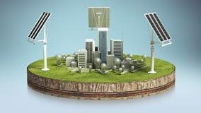 Zonne-energiepaneel, Milieuvriendelijke energie op cyclusgrond (inbegrepen alpha-) stock footage