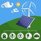 Zonne-energiepanelen en windturbine Stock Afbeeldingen