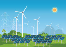 Zonne-energiepanelen en windturbine vector illustratie