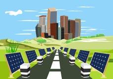 Zonne-energiepanelen langs de weg, stadsgebouwen op het eind van de wegen, platteland, concept stock illustratie