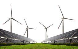 Zonne-energiepanelen met windturbines Royalty-vrije Stock Fotografie