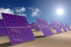 Zonne-energiepark in woestijn vector illustratie