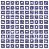 100 zonne-energiepictogrammen geplaatst grunge saffier Stock Afbeeldingen