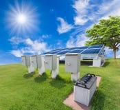 Zonne-energiesysteem tegen zonnige hemel Stock Foto