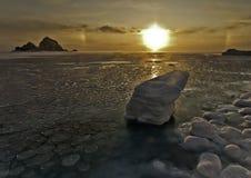 Zonne halo overzees ijs Stock Afbeelding