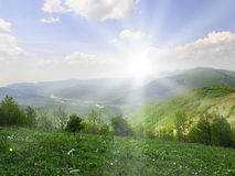 Zonne landschap Stock Foto's