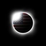 Zonne of Maanverduistering en Amerikaanse vlag Vector Stock Foto's