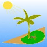Zonnebaad op het woestijneiland! Stock Foto's