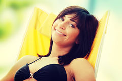Zonnebadende vrouw Stock Afbeelding