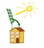 Zonnebatterij op het huis stock illustratie