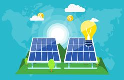 Zonnebatterijen die besparingsplaneet veranderen vector illustratie