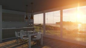 Zonneblinden die op een zonsondergang overzees landschap openen vector illustratie