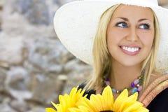 Zonnebloem & Glimlachen royalty-vrije stock foto's