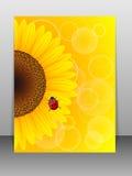 Zonnebloem en onzelieveheersbeestje op gele achtergrond. Royalty-vrije Stock Fotografie