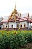 Zonnebloem en Tempel met hemelachtergrond Stock Fotografie