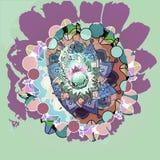 Zonnebloem en van cirkelsmandala bloem, pastelkleurenpallet, duidelijke aquamarijnachtergrond royalty-vrije illustratie