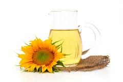 Zonnebloem en zonnebloemolie Stock Afbeeldingen