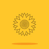 Zonnebloem leuk pictogram in in vlakke die stijl op kleurenachtergrond wordt geïsoleerd Royalty-vrije Stock Afbeeldingen