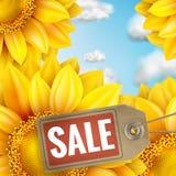 Zonnebloem met blauwe hemel - de herfstverkoop Eps 10 Stock Fotografie