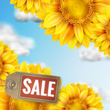 Zonnebloem met blauwe hemel - de herfstverkoop Eps 10 Royalty-vrije Stock Foto's