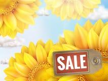 Zonnebloem met blauwe hemel - de herfstverkoop Eps 10 Stock Afbeelding